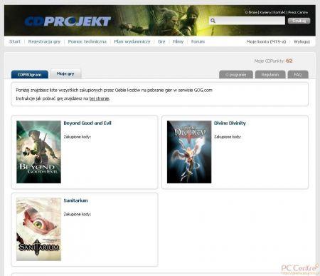 Screen strony serwisu lojalnościowego firmy CD Projekt – CD Program