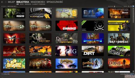 Screen okładek gier z serwisu Steam