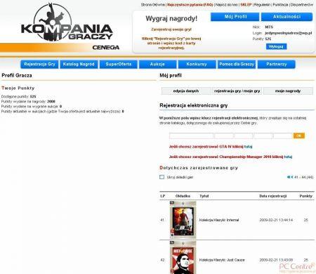 Screen strony serwisu lojalnościowego firmy Cenega – Kompania Graczy OPEN
